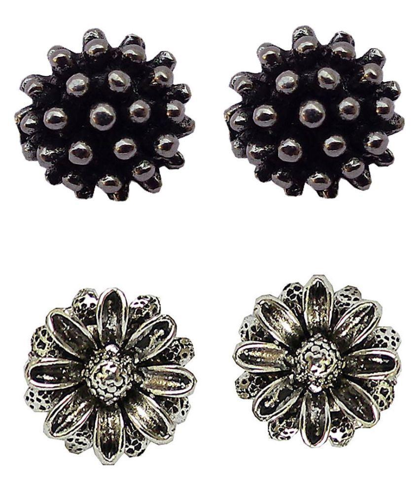 Trendeela Seher Black Silver 9 to 5 Stud Earring ( Combo Of 2 )