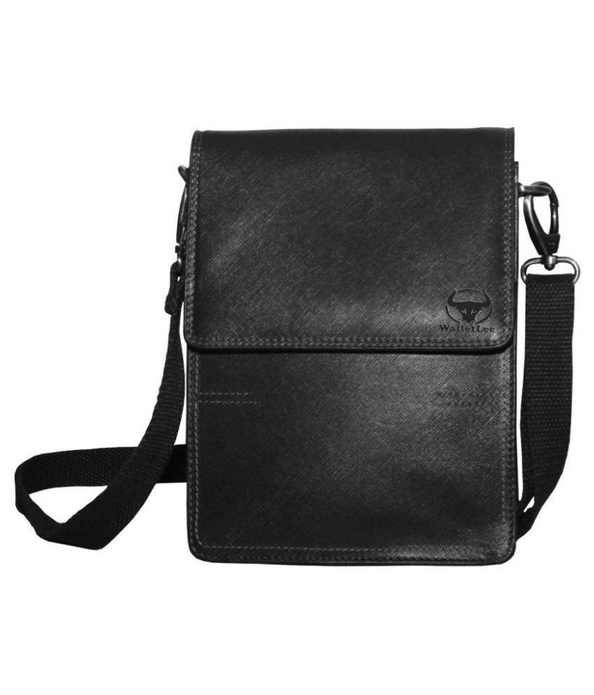 WalletLee LSBU17-WL_5 Black Leather Casual Messenger Bag
