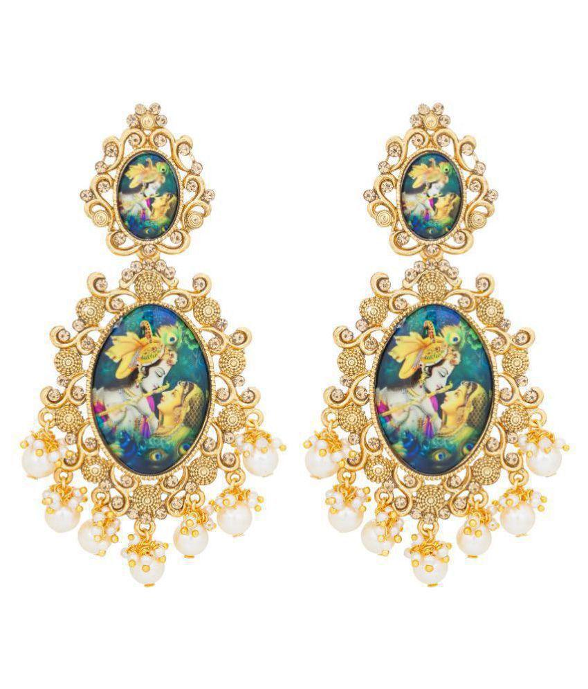 Aadita Traditional Gold Plated Lord Radha-Krishna Temple Jewellery Dangler  Earring For Women and Girls