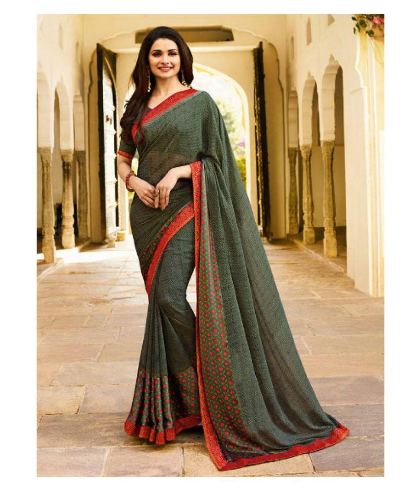 0645d59f2c Gazal Fashions Green and Blue Chiffon Saree - Buy Gazal Fashions Green and  Blue Chiffon Saree Online at Low Price - Snapdeal.com