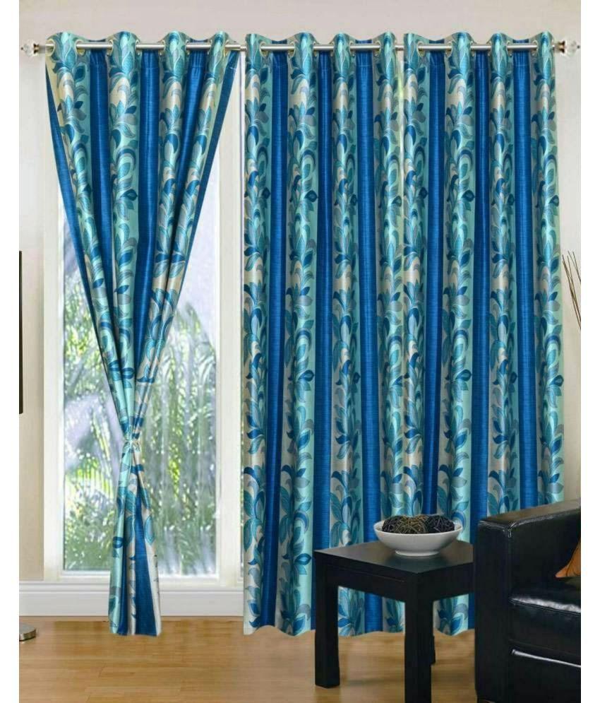Swarnadeep Set of 2 Door Semi-Transparent Eyelet Polyester Curtains Blue