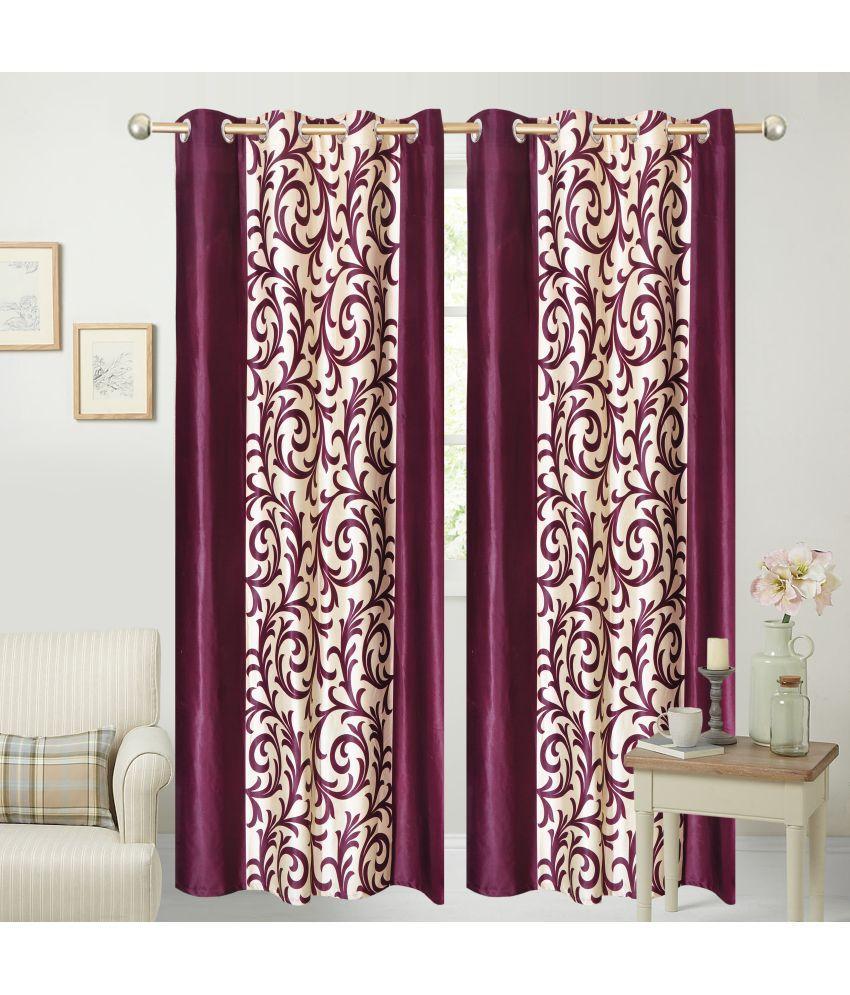 Swarnadeep Set of 2 Window Semi-Transparent Eyelet Polyester Curtains Maroon