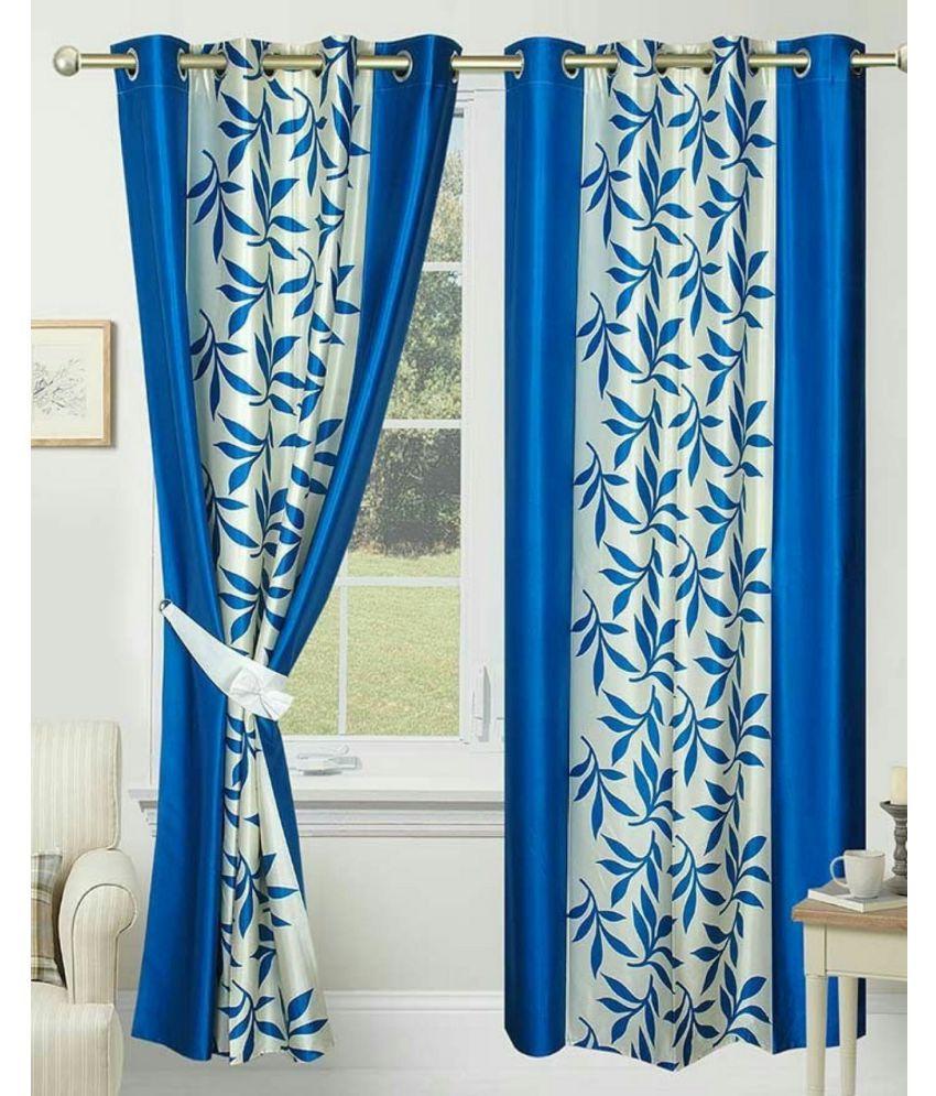 Swarnadeep Set of 2 Window Semi-Transparent Eyelet Polyester Curtains Blue