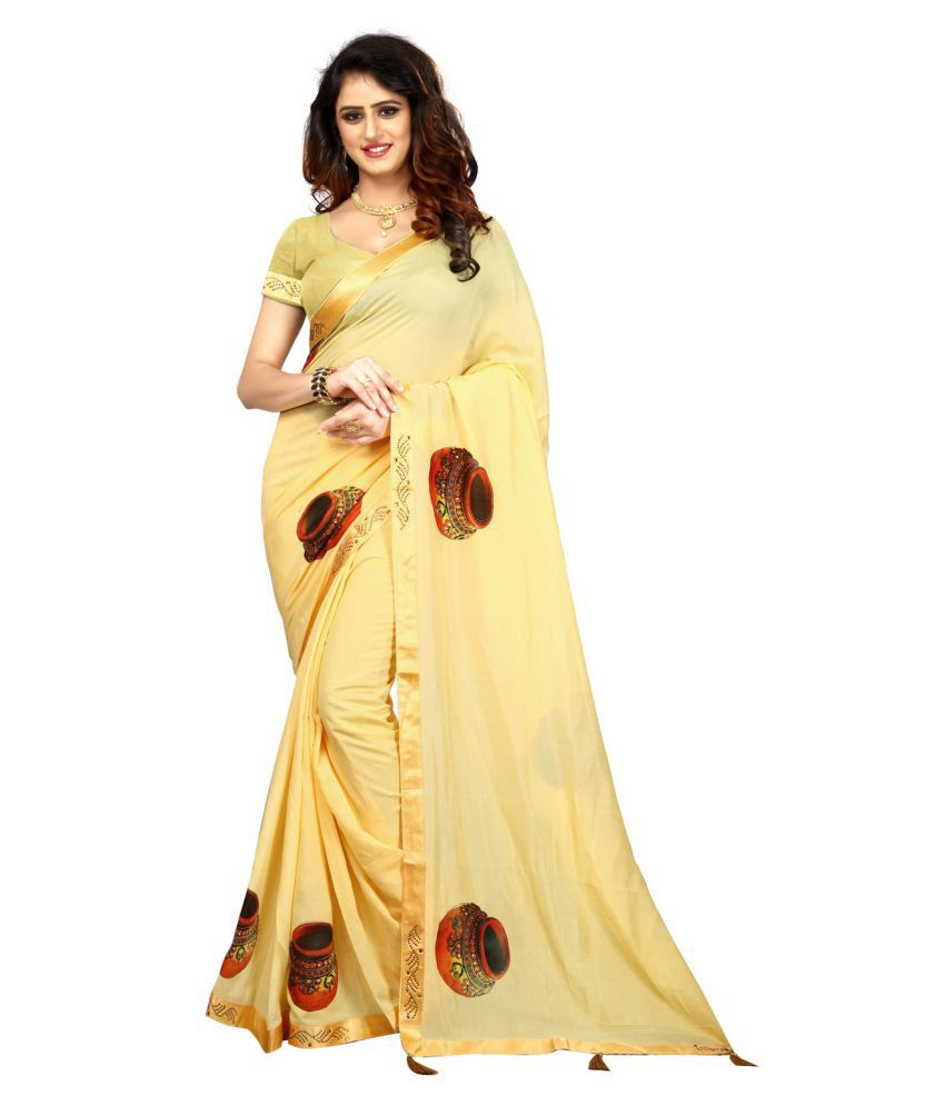 Bandhani Couture Yellow and Beige Silk Saree