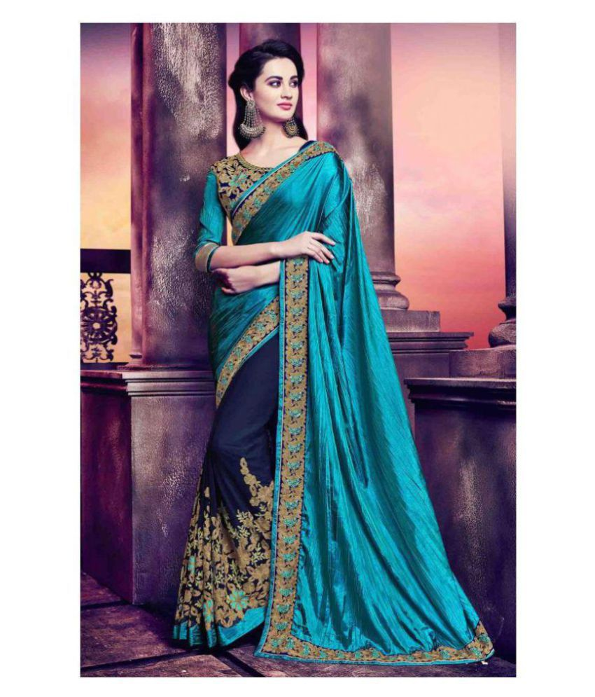 ab76bfa964 IndianEfashion Green and Blue Georgette Saree - Buy IndianEfashion Green  and Blue Georgette Saree Online at Low Price - Snapdeal.com