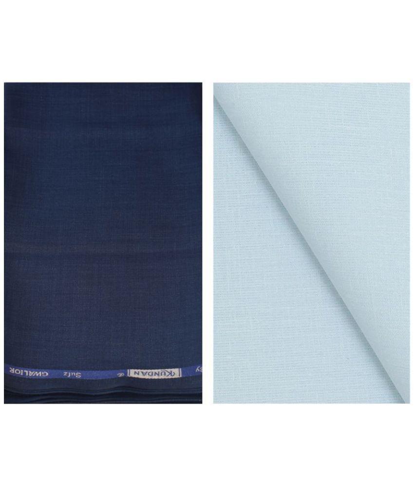 KUNDAN SULZ GWALIOR Blue Cotton Blend Unstitched Shirts & Trousers