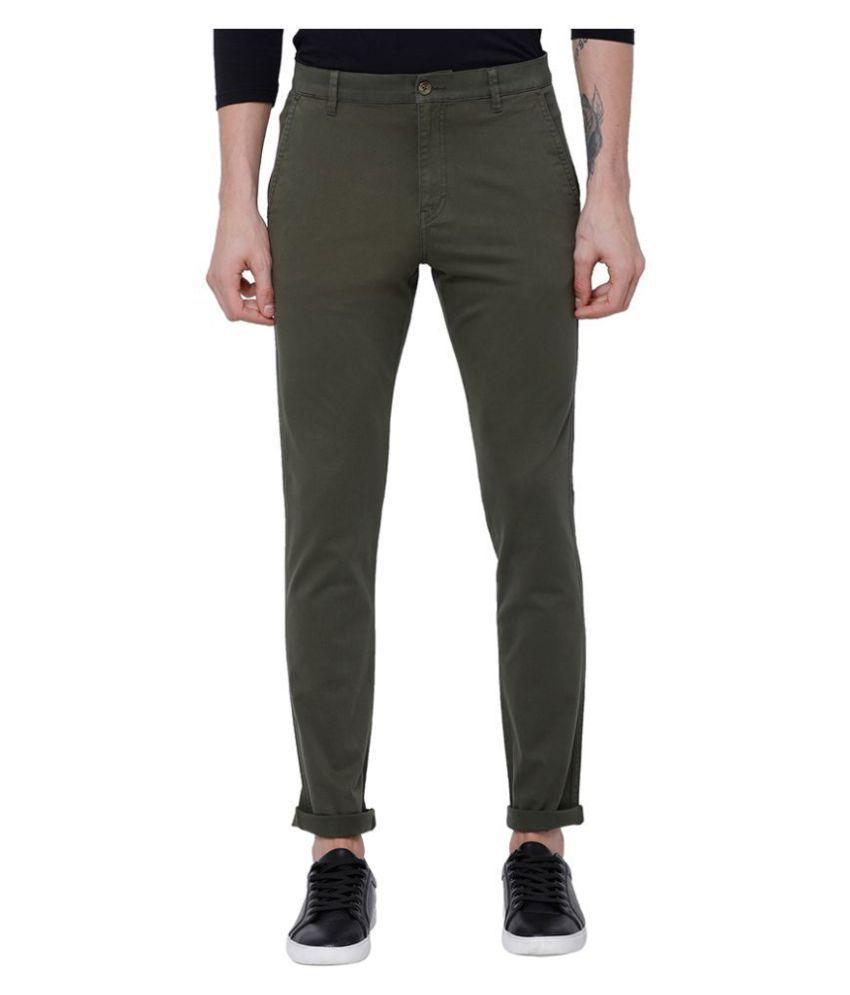 Horsefly Green Slim -Fit Flat Chinos