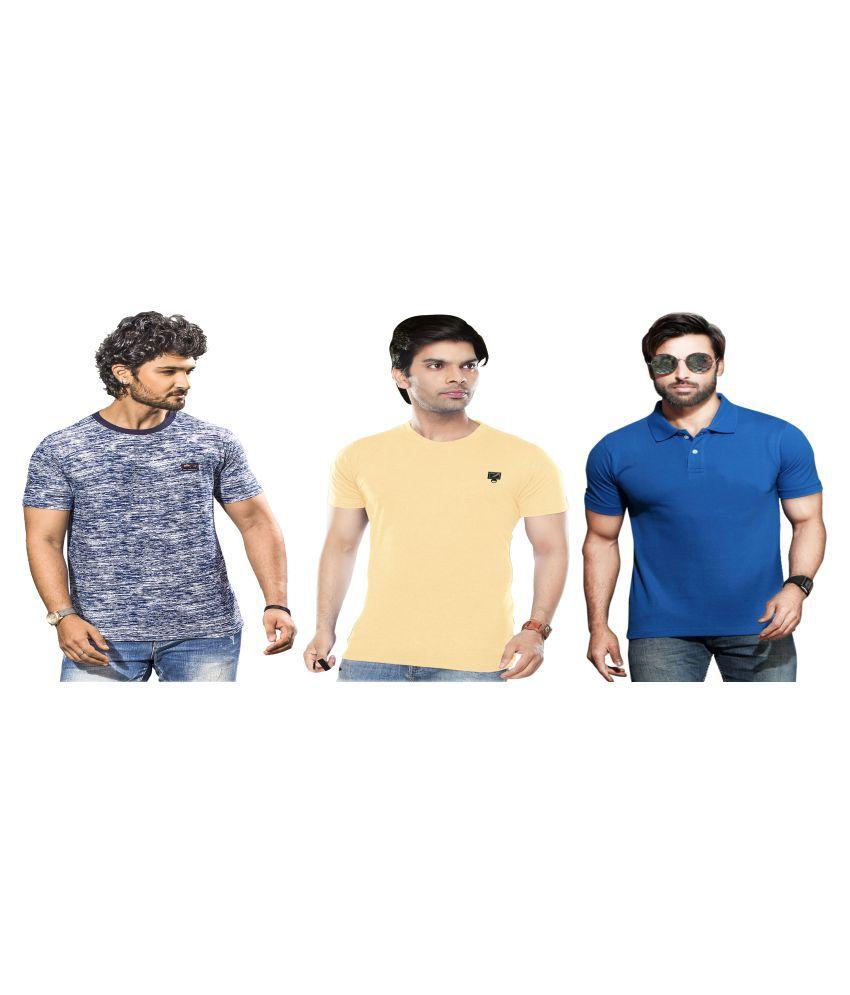 KUNDAN SULZ GWALIOR Blue Half Sleeve T-Shirt Pack of 3