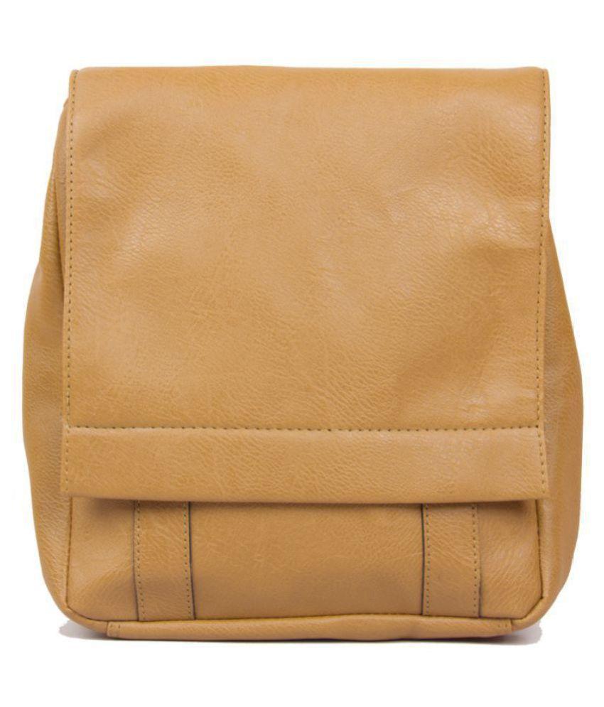 Purseus Tan P.U. Casual Messenger Bag