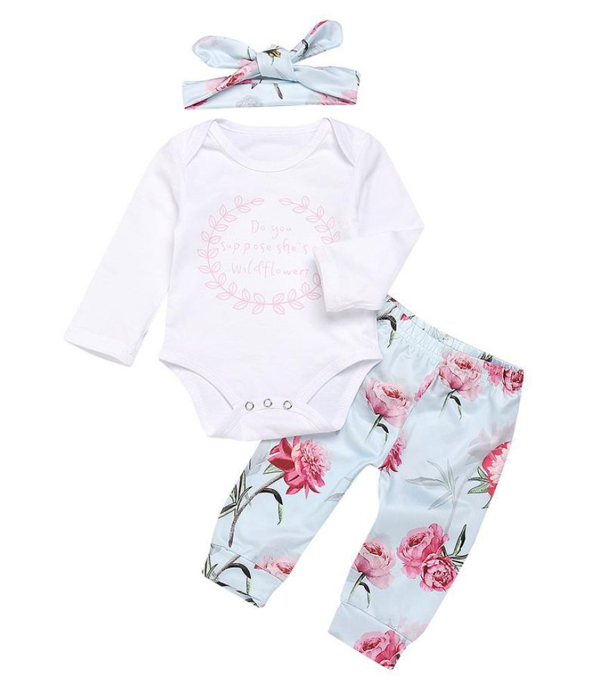 Fashion Flower Letters Baby Girls Long Sleeve Romper Pants Headband Clothes Set