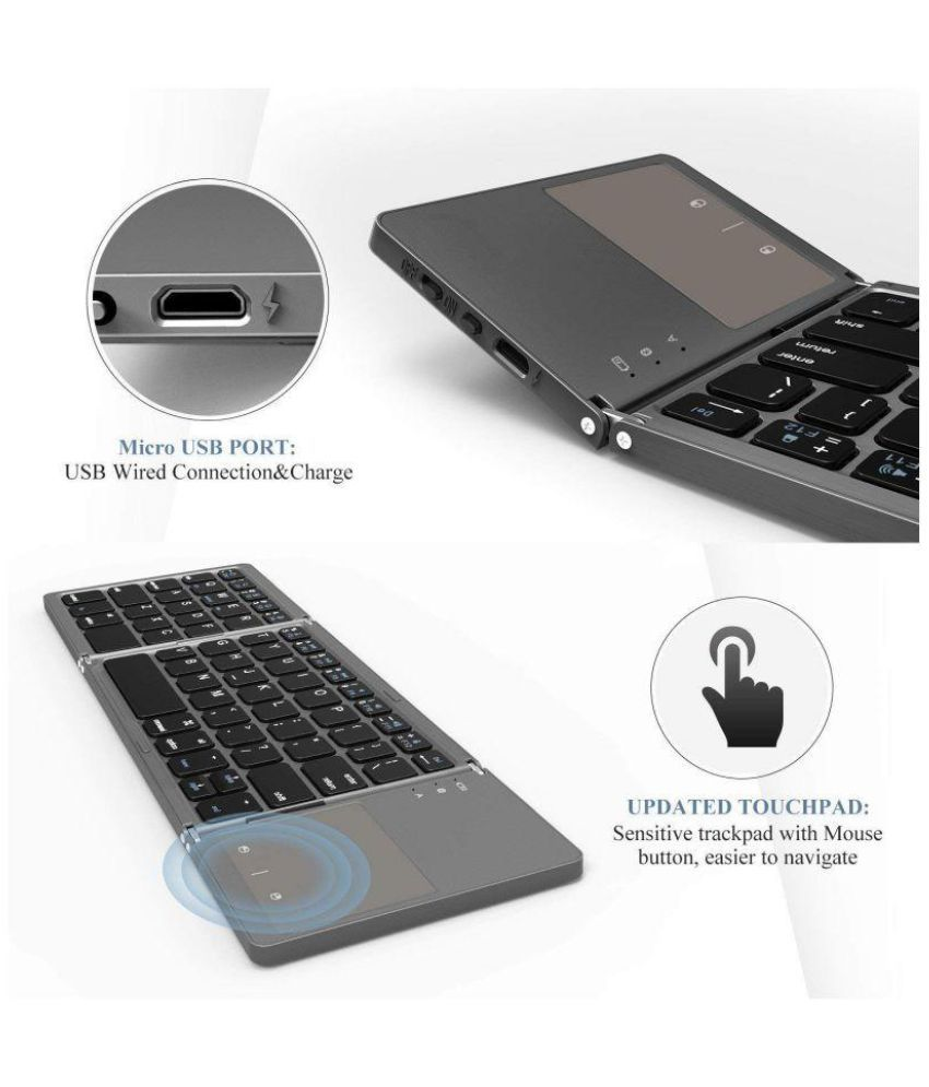 bf5398e2c87 ... UnTech Foldable Bluetooth Keyboard Bluetooth Keyboard With Touchpad For All  Devices Windows PC IOS Android Tablet ...