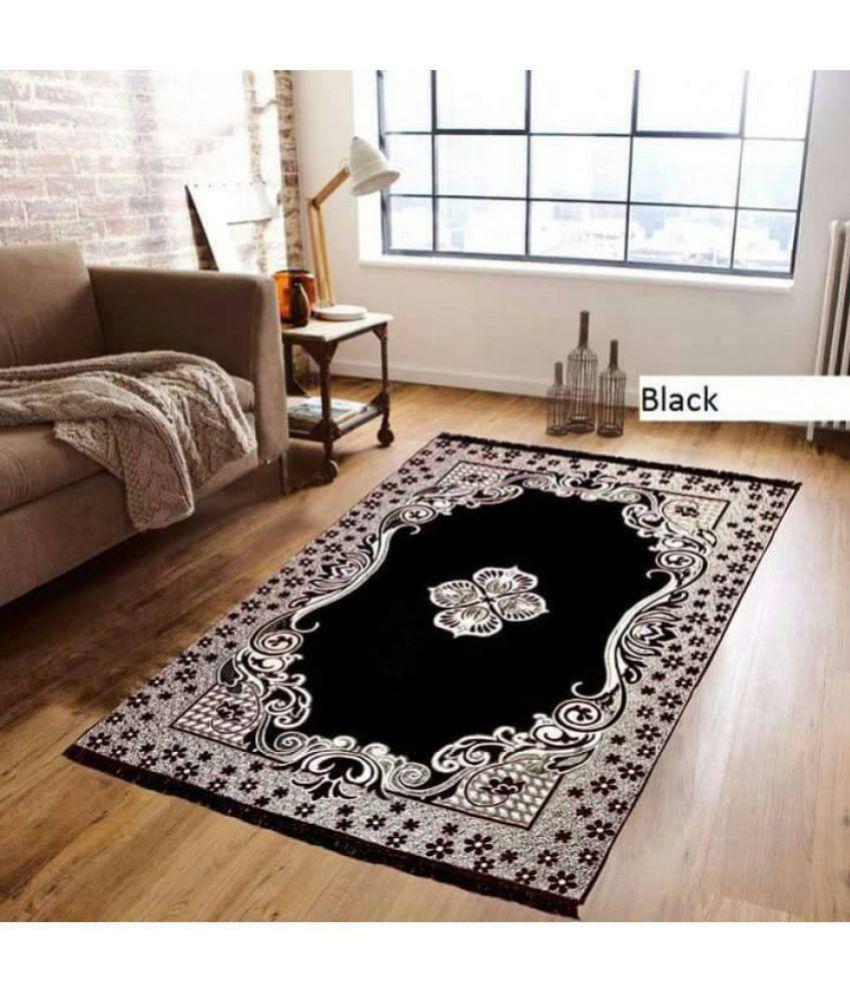 farsh black chenille carpet abstract 5x7 ft buy farsh black rh snapdeal com