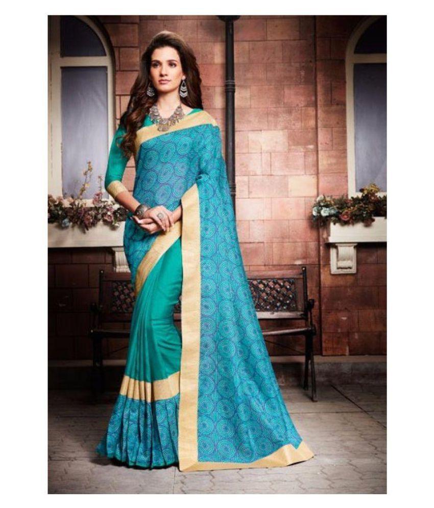 Tan Man collection Green and Blue Silk Saree
