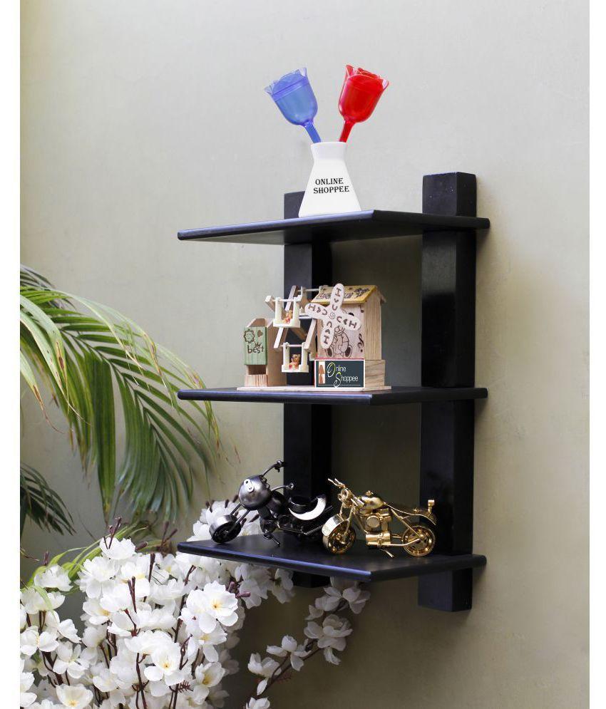 Onlineshoppee Floating Shelves Black Wood - Pack of 1