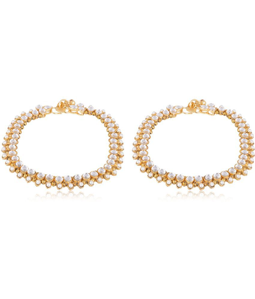 Accessorisingg Traditional Gold Plated Diamond and Pearl Anklet / Payal for Women [TPL005]