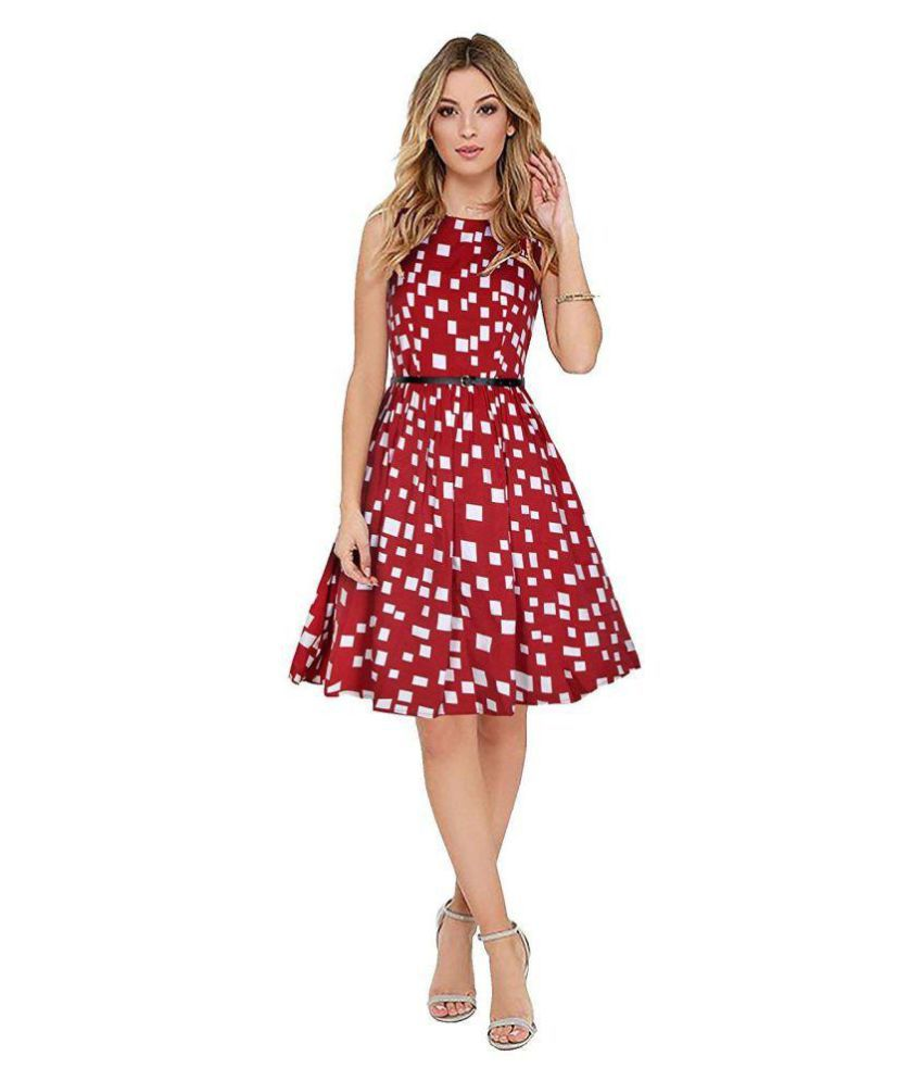Diego Red Crepe A-line Kurti