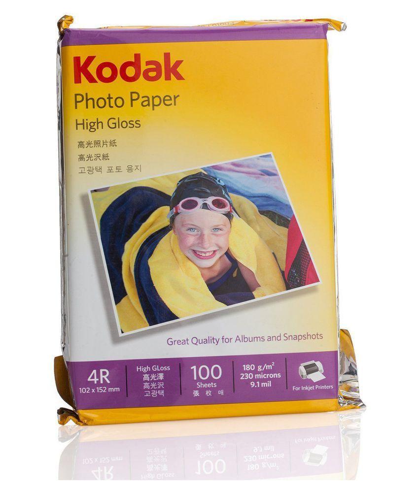 Kodak High Gloss 4R 180GSM   102 x 152mm   Set of 4  400 Sheets Photo Paper
