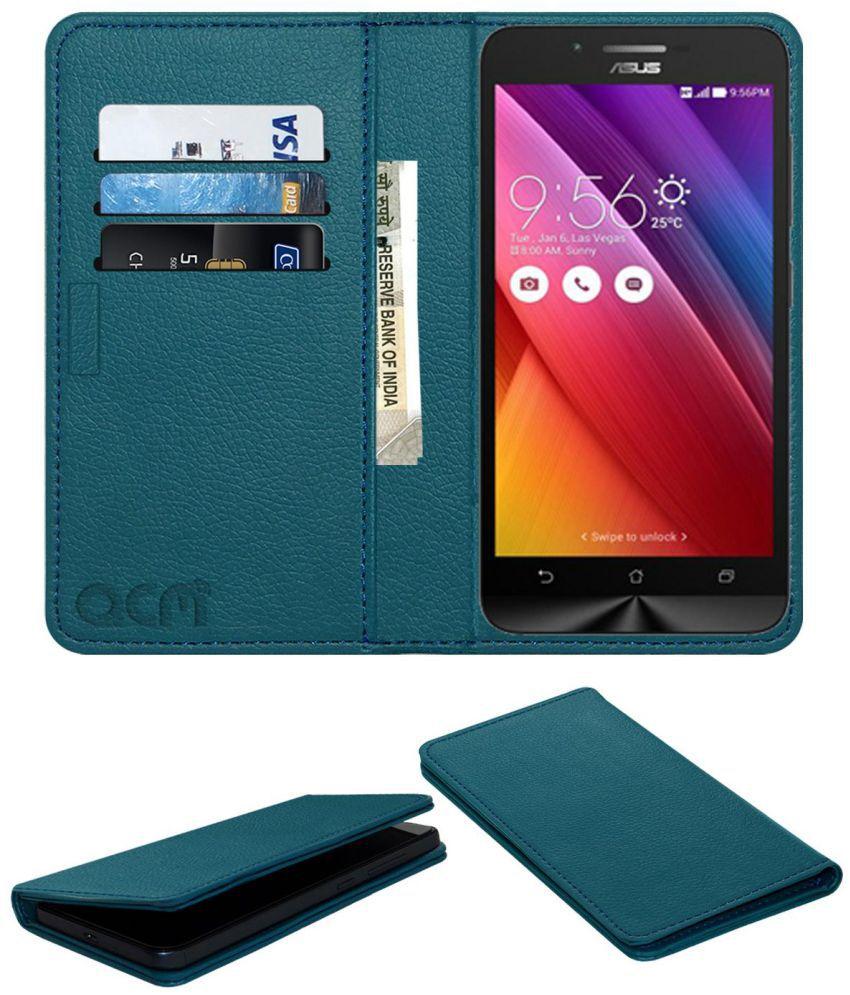 Asus Zenfone go ZC500TG Flip Cover by ACM - Blue Wallet Case,Can store 3 Card/Cash