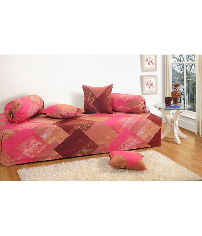 Swayam Cotton Brown Geometrical Diwan Set 6 Pcs