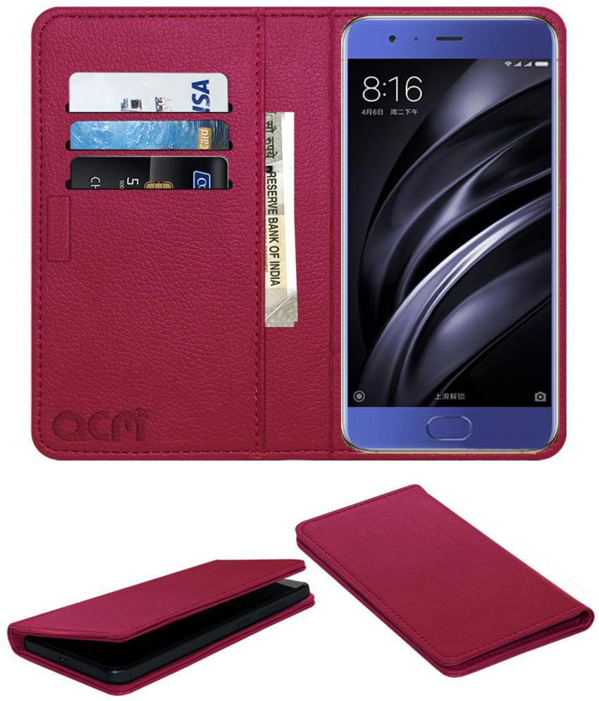 XIAOMI MI 6 Flip Cover by ACM - Pink Wallet Case,Can store 3 Card/Cash