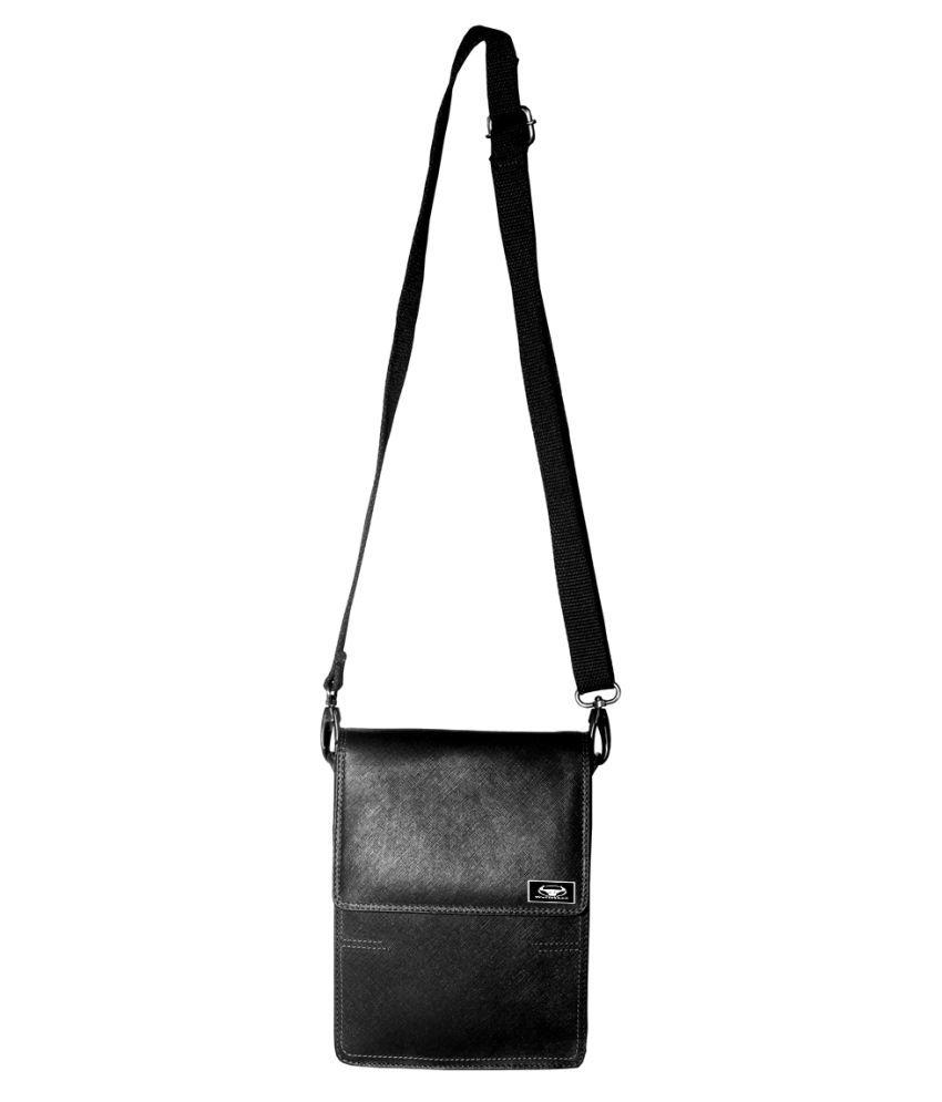 WalletLee LSBU17-WL_6 Black Leather Casual Messenger Bag