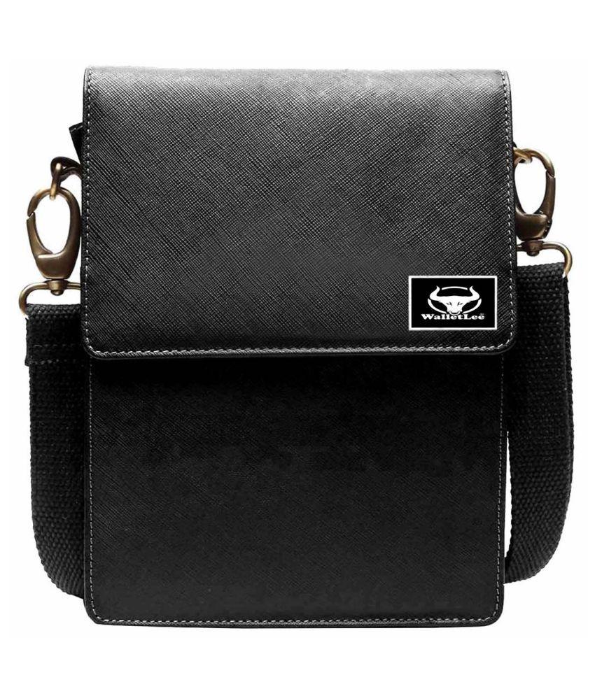 WalletLee LSBU5-WL_1 Black Leather Casual Messenger Bag