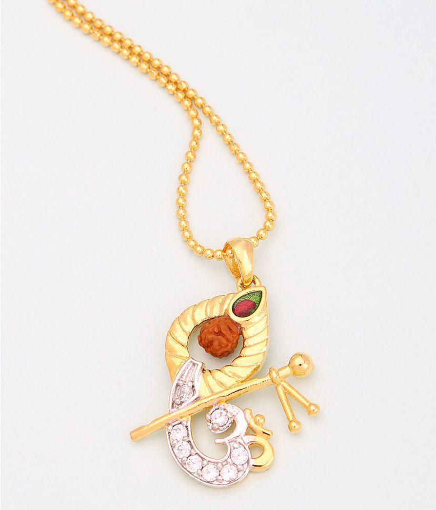 Voylla Madhusudhan Rudraksha Studded Pendant With Chain For Men Gift for Him, Boy, Men, Father, Brother, Boyfriend, Party Wear, Daily Wear,Festive Wear