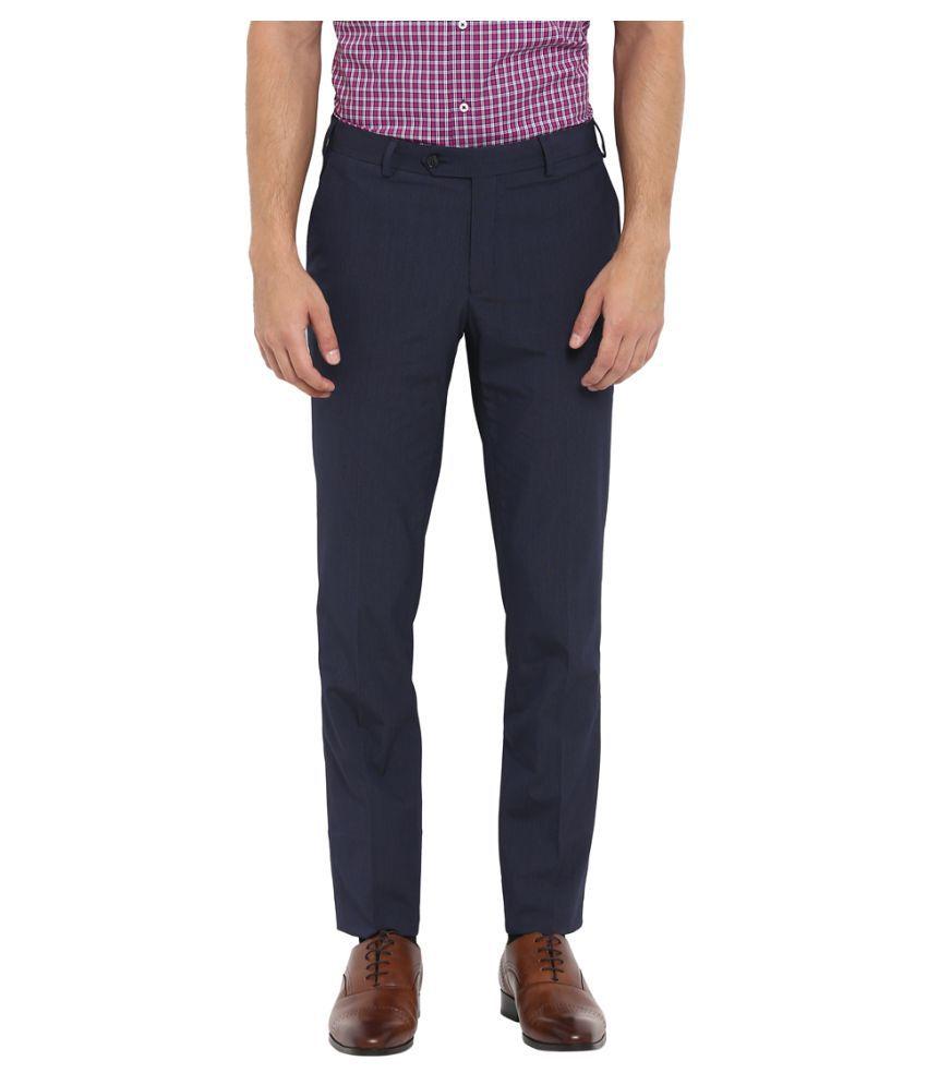 Colorplus Dark Blue Slim -Fit Flat Trousers