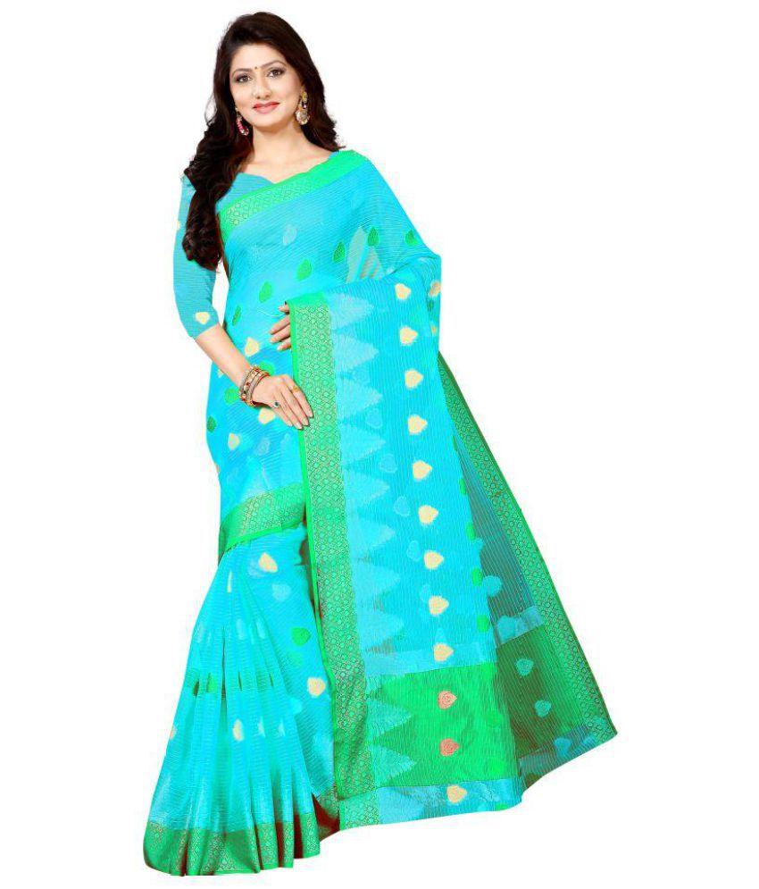 Fashion Turner Green and Blue Cotton Silk Saree