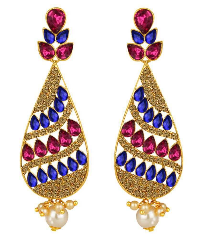 Spargz Antique Gold Plated Multicolor Synthetics Stone Big Long Indian Style Dangle & Chandelier Earrings For Women AIER 1344