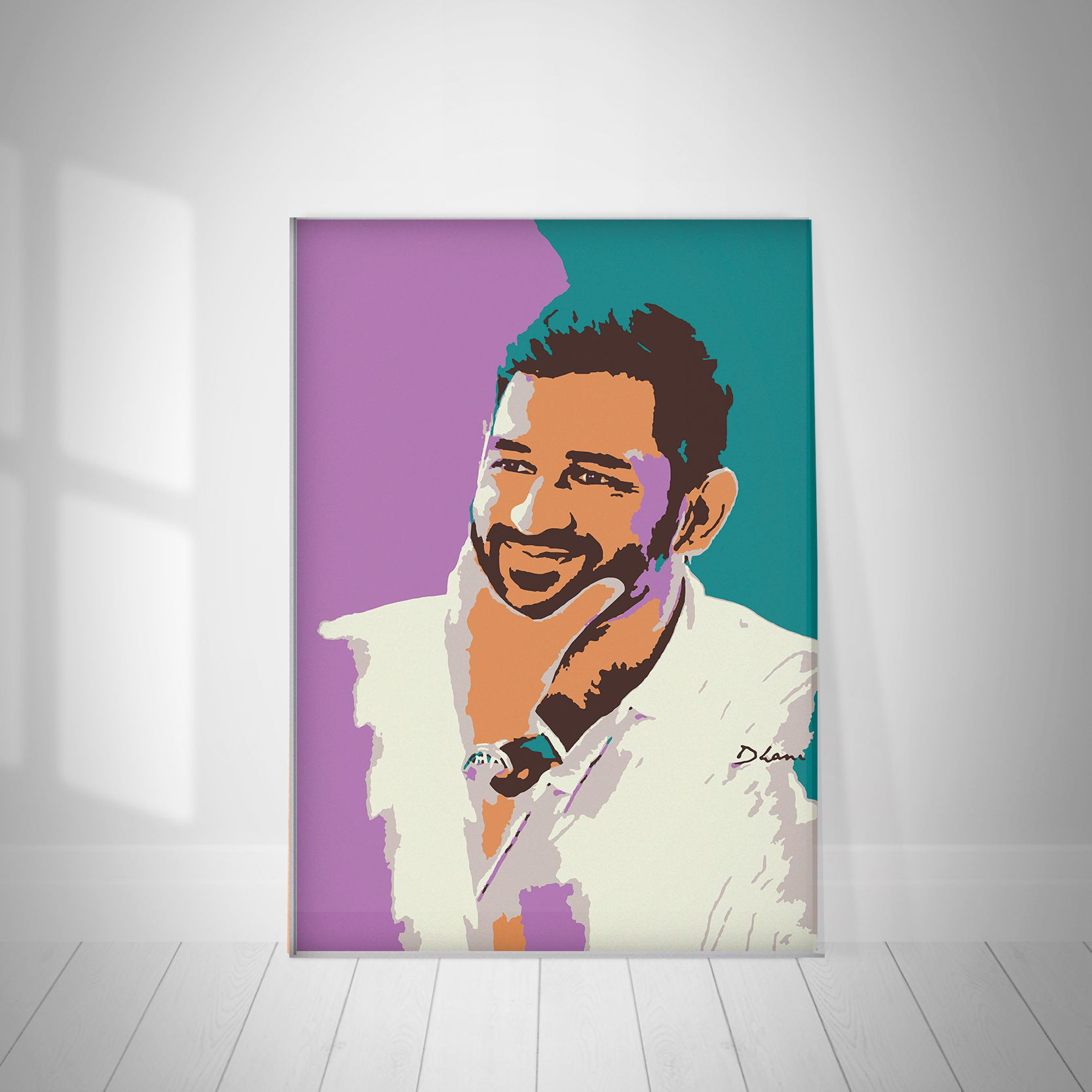 Motivatebox Ms Dhoni Oil Painting Design Paper Photo Wall