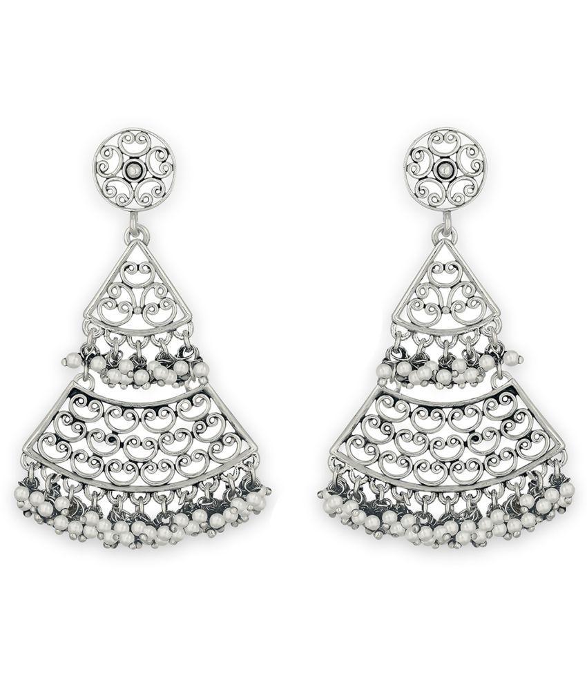 Spargz Filigree Triangular Oxidize Rhodium Plated Festive Wear Dangle Earring For Women