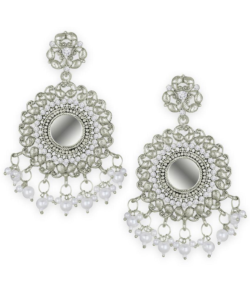 Spargz Mirror Dangler Alloy Festive Wear Silver Oxidized Plated American Diamond Earring For Women