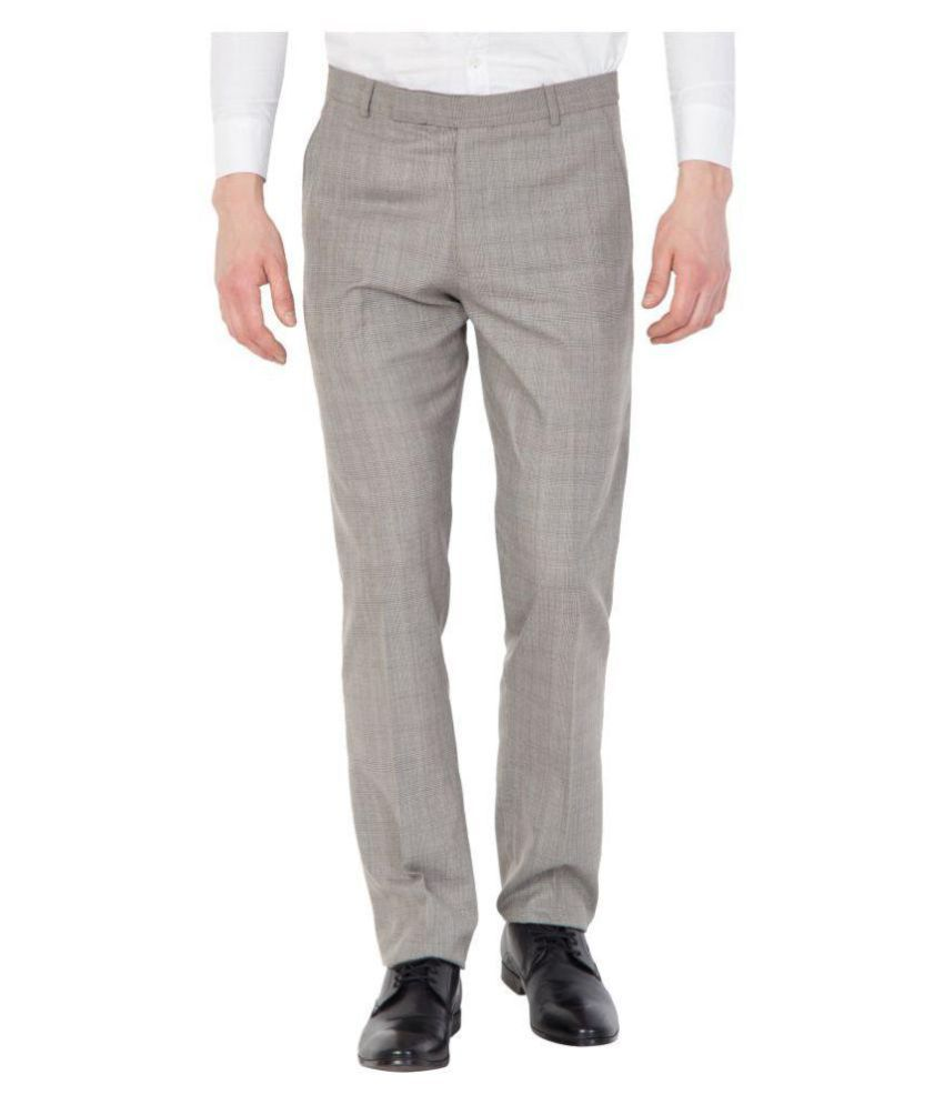Tiger Grid Beige Slim -Fit Flat Trousers