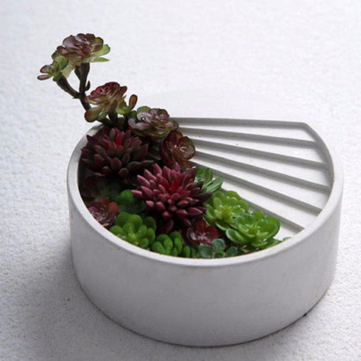 3D Flower Pot Silicone Molds DIY Craft Decorating Concrete For Succulent  US