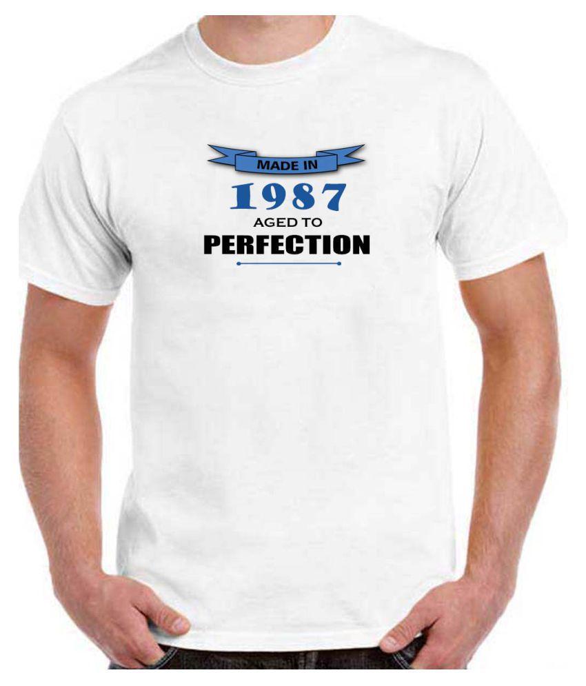 Ritzees Unisex Half Sleeve White Cotton T-Shirt Cotton T-Shirt Birthday for Men, Women, Kids(White, 34)