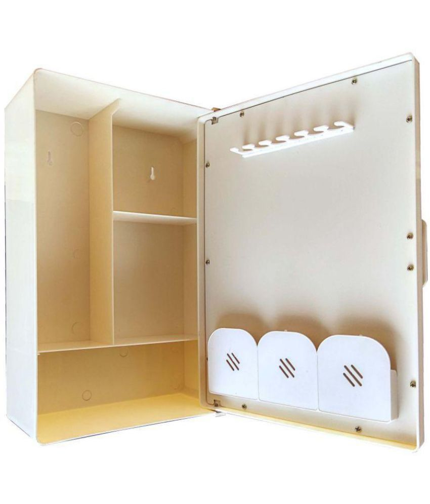 buy zahab mini single door ivory mirrored plastic bathroom cabinet rh snapdeal com