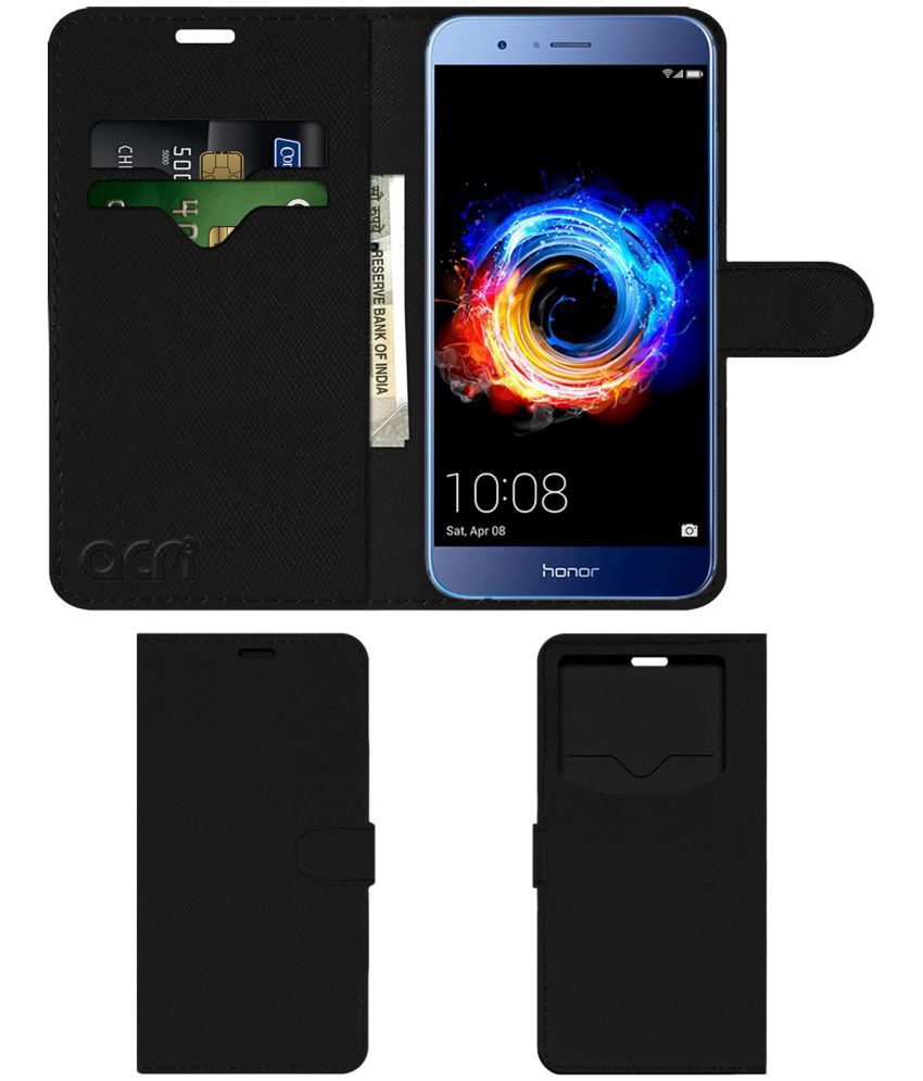 check out 2fcbe 14d26 Huawei Honor 8 Pro Flip Cover by ACM - Black Wallet Case,Can store 2 Card &  1 Cash Pockets