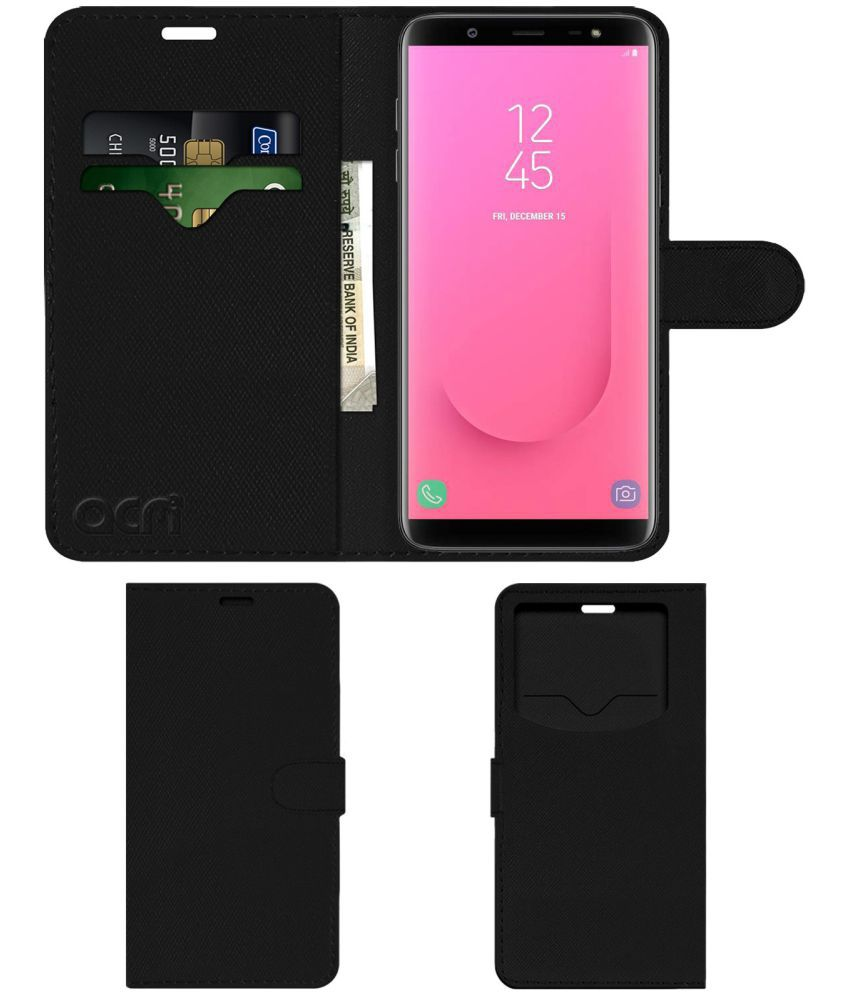 Samsung Galaxy J8 2018 Flip Cover by ACM - Black Wallet Case,Can store 2 Card & 1 Cash Pockets