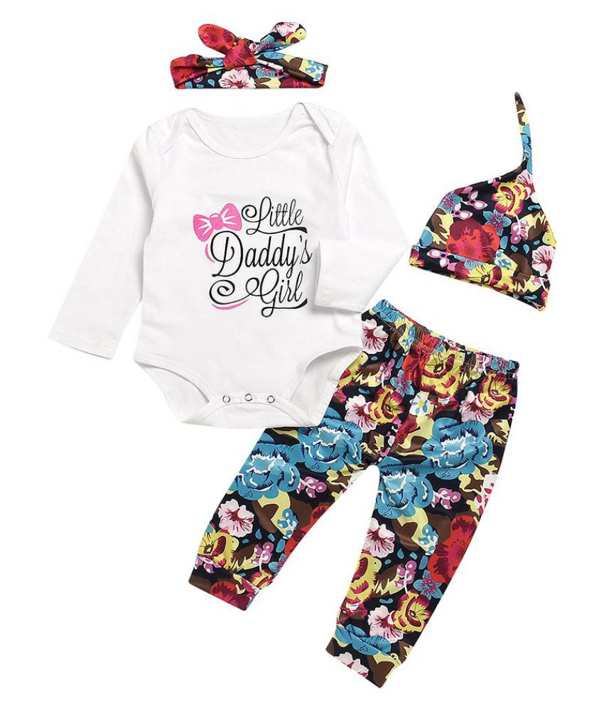 Flower Letters Baby Girls Long Sleeve Romper Pants Hat Headband Clothes Set