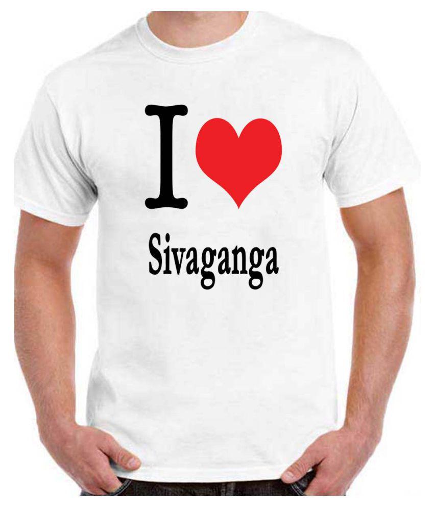 Ritzees Unisex Half Sleeve White Cotton T-Shirt Cotton T-Shirt I Love Sivaganga for Men, Women, Kids(White, 34)