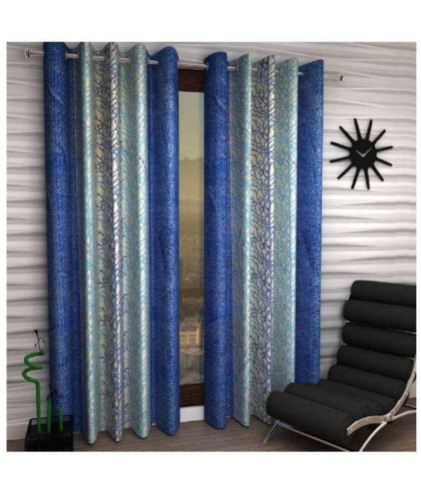 Tanishka Fabs Set of 2 Window Eyelet Polyester Curtains Blue