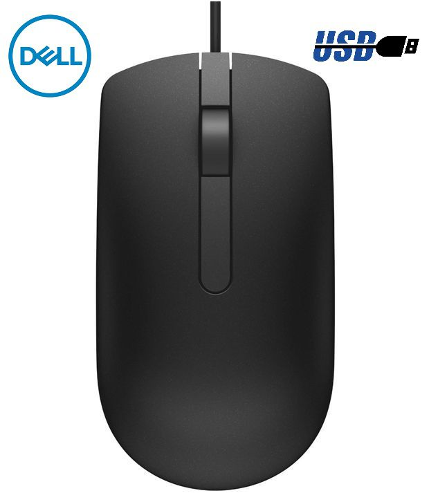 Dell MS116 USB Wired Optical Mouse  Black