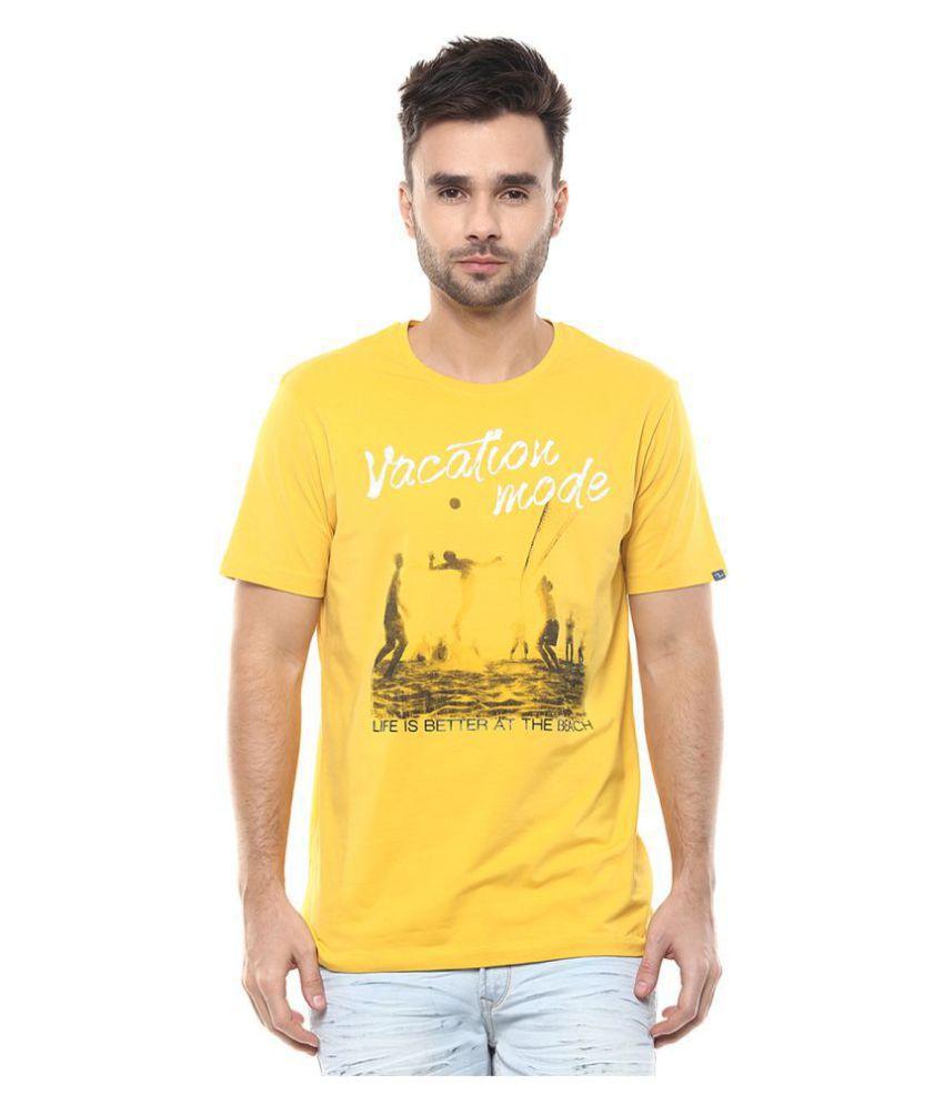 Spykar Yellow Half Sleeve T-Shirt