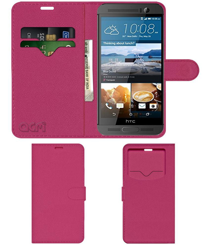 HTC One M9 Plus Flip Cover by ACM - Pink Wallet Case,Can store 2 Card & 1 Cash Pockets