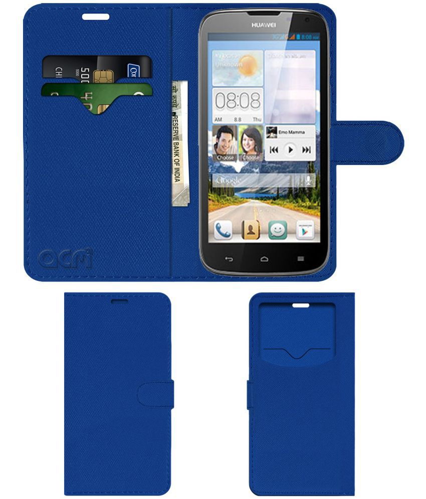 Huawei Ascend G610 Flip Cover by ACM - Blue Wallet Case,Can store 2 Card & 1 Cash Pockets