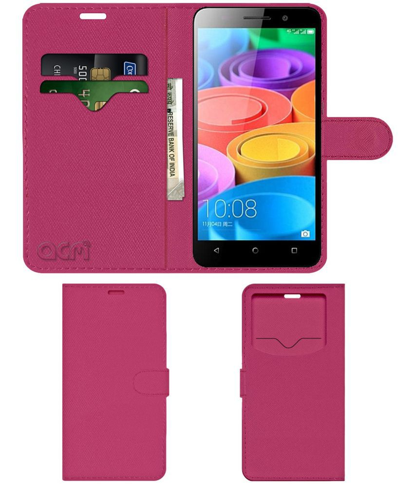 Huawei Honor 4X Flip Cover by ACM - Pink Wallet Case,Can store 2 Card & 1 Cash Pockets