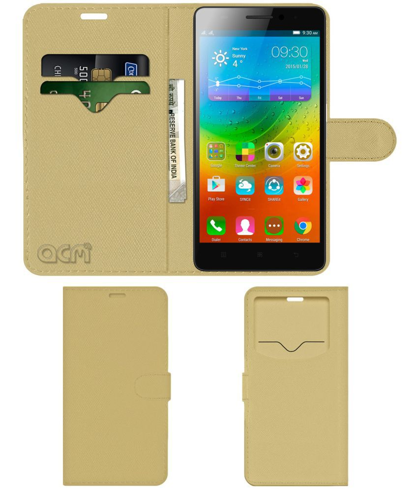 Lenovo A7000 Flip Cover by ACM - Golden Wallet Case,Can store 2 Card & 1 Cash Pockets
