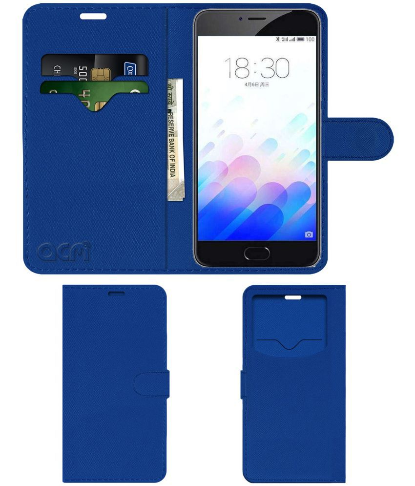 Meizu M3 Note Flip Cover by ACM - Blue Wallet Case,Can store 2 Card & 1 Cash Pockets