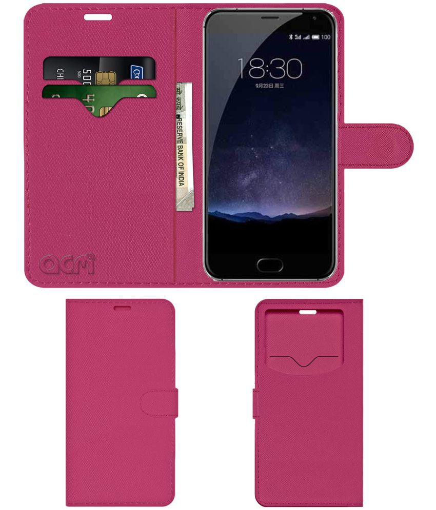 Meizu PRO 5 Flip Cover by ACM - Pink Wallet Case,Can store 2 Card & 1 Cash Pockets